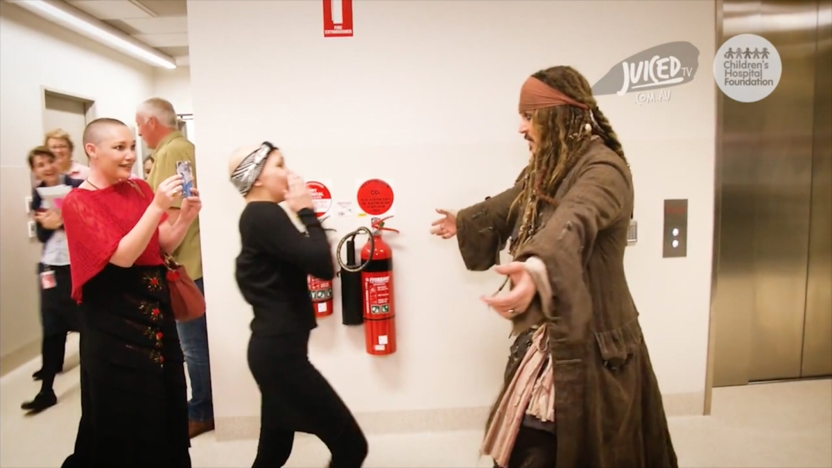 Johnny Depp (Capt. Jack Sparrow) visits B.C. Children's Hospital In Costume